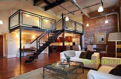 Стиль Лофт в интерьере гостиной 1 Стили и дизайн
